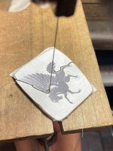 シルバー板 糸鋸で切り抜き