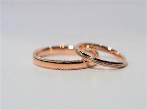 結婚指輪 ピンクゴールド ミルグレイン01